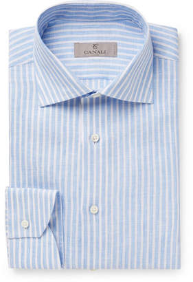 Canali Blue Striped Slub Linen Shirt - Blue