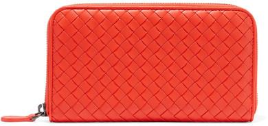 Bottega VenetaBottega Veneta - Intrecciato Leather Continental Wallet - Tomato red