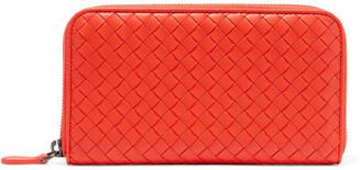 Bottega Veneta - Intrecciato Leather Continental Wallet - Tomato red $760 thestylecure.com