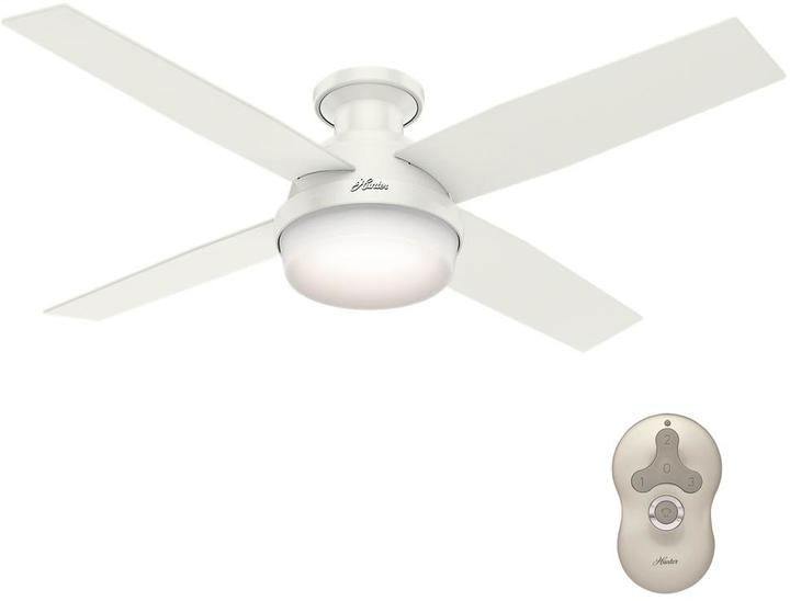 Hunter Dempsey 52 in. Low Profile LED Indoor Fresh White Ceiling Fan with Universal Remote