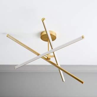 west elm Light Rods LED Semi-Flushmount - Antique Brass