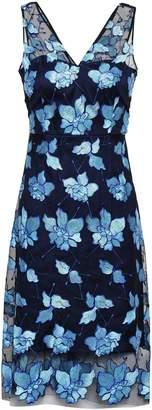 Elie Tahari Floral-appliqued Tulle Dress