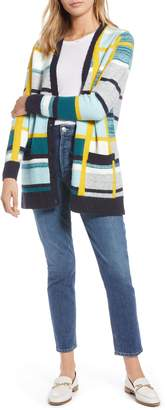 1901 Abstract Plaid Button Front Cardigan Sweater