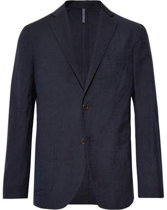 Incotex Navy Slim-Fit Unstructured Wool And Linen-Blend Blazer