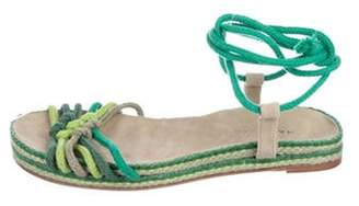 Marc Jacobs Knit Wrap-Around Sandals Green Knit Wrap-Around Sandals