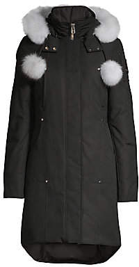 Moose Knuckles Women's Stirling Blue Fox Fur-Trim& Pom Pom Down Parka