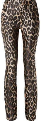 TRE - Charlotte Metallic Leopard-print Jacquard Slim-leg Pants - Leopard print