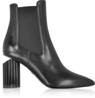 Roberto Cavalli Black Leather Pointed Toe Heel Boots