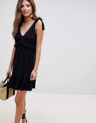 Asos DESIGN Tie Strap Sundress With Pep Hem