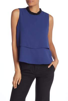 Nine West Sleeveless Tiered Satin Blouse