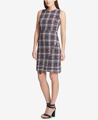 DKNY Asymmetrical Tweed Sheath Dress