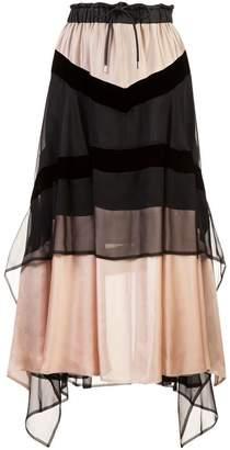 Sacai tiered skirt