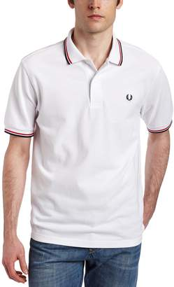 Fred Perry Men's Twin Tipped Polo Shirt, White/Bright Red/Navy