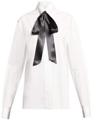 Alexandre Vauthier Pussy Bow Cotton Poplin Blouse - Womens - White
