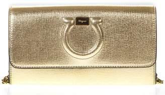 Salvatore Ferragamo Metallic Gold Leather Wallet With Embossed Logo