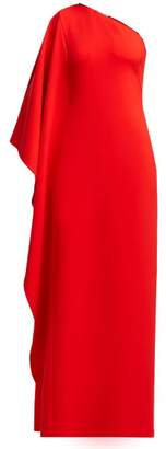Osman Oleander Cape Sleeve One Shoulder Crepe Gown - Womens - Red