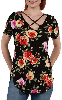24/7 Comfort Apparel 24Seven Comfort Apparel Meg Black Floral Tunic Top - Plus