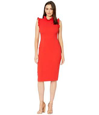 Maggy London Solid Crepe Sheath with Ruffle Detail Dress