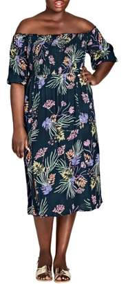 City Chic Island Floral Off the Shoulder Midi Dress
