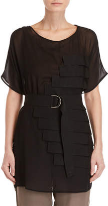 Pierantonio Gaspari Sheer Strap Detail Belted Blouse