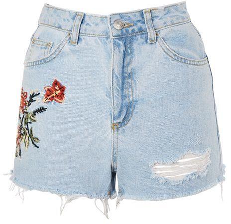 TopshopTopshop Moto flower embroidered denim mom shorts