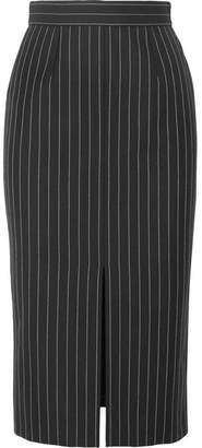 Alexander McQueen Pinstriped Wool-blend Pencil Skirt - Black