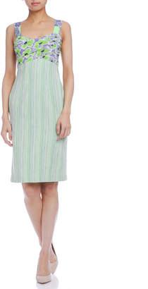 Paola Frani (パオラ フラーニ) - PAOLA FRANI フローラルプリント ツイード切替 ドレス グリーン 38