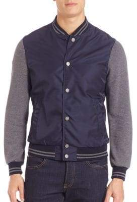 Eleventy Knit-Sleeve Baseball Jacket