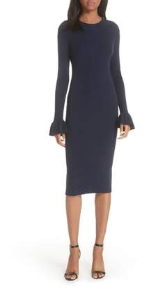 Milly Rib Knit Flare Sleeve Body-Con Dress