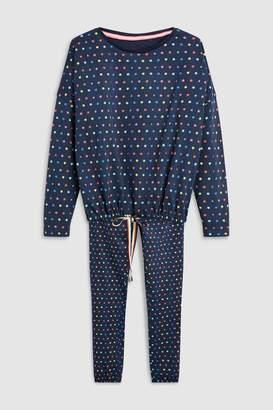 Next Womens Navy Heart Womens Tie Waist Pyjamas