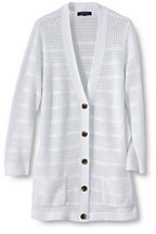 Lands' End Women's Tall Linen Pointelle Cardigan Sweater-White $89 thestylecure.com