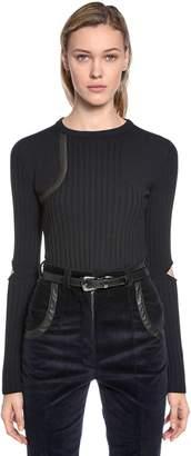 Nina Ricci Wool Knit Sweater W/ Elbow Cutouts