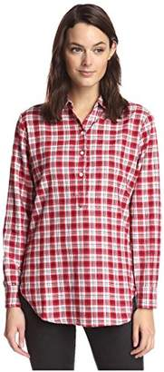 James & Erin Women's Plaid Back Button Popover Shirt