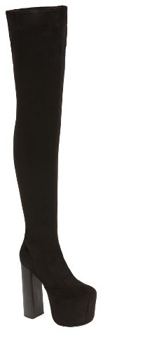 Jeffrey Campbell Women's Jeffrey Campbell Bad Girl Over The Knee Platform Boot