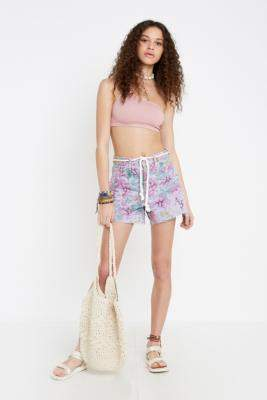 BDG Pax Lilac Floral High Waisted Denim Shorts - purple 26W at Urban Outfitters