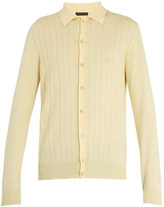 Prada Long-sleeve perforated-knit top