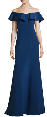 Rickie Freeman for Teri Jon Off-the-Shoulder Silk Ruffle Gown, Sapphire $1,400 thestylecure.com