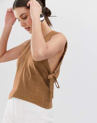 Asos linen ruched armhole tank