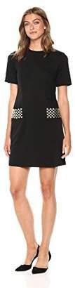 Calvin Klein Women's Short Sleeve A-line Dress with Studded Pockets