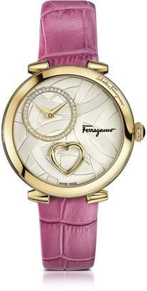 Salvatore Ferragamo Cuore Gold IP Diamonds Women's Watch w/Pink Croco Embossed Strap