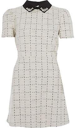 River Island Petite cream boucle embellished dress