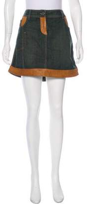Christian Dior Leather-Accented Mini Skirt