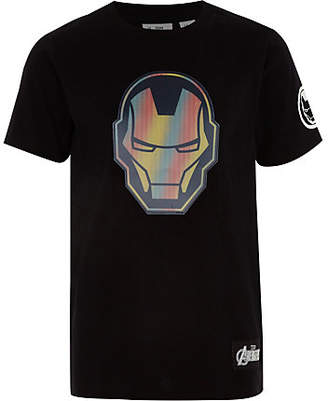 River Island Boys black Iron Man T-shirt