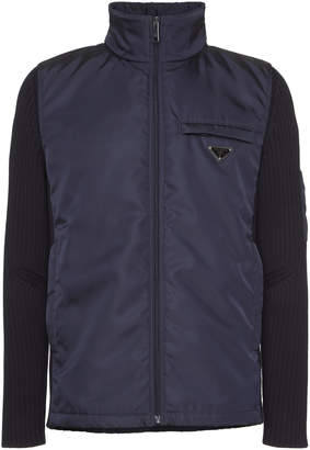Prada Navy Nylon Wool-Sleeve Jacket