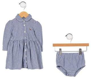 Ralph Lauren Girls' Striped Button-Up Dress