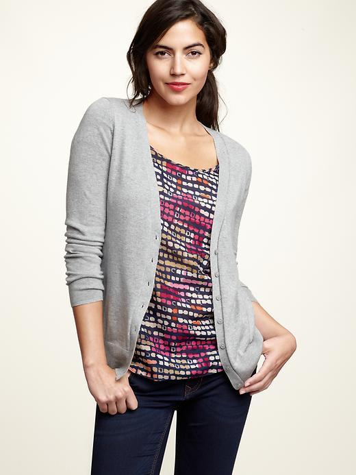 Solid button-front cardigan
