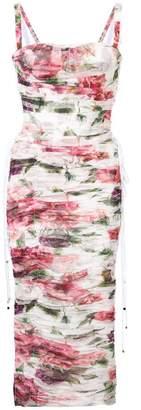 Dolce & Gabbana peony print tulle dress