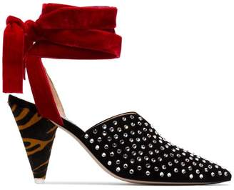 ATTICO black, red and brown velvet ankle tie crystal embellished 90 suede pumps