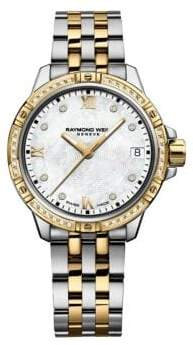 Raymond Weil 30mm Tango Mother-of-Pearl and 0.18TCW Diamonds Two-Tone Stainless Steel Bracelet Watch