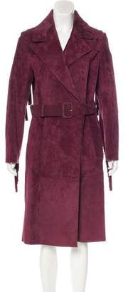 Burberry Fringe-Trimmed Suede Coat w/ Tags